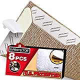 X-Protector Rug Grippers Best 8 pcs Anti Curling Rug Gripper. Keeps Your Rug in Place & Makes...