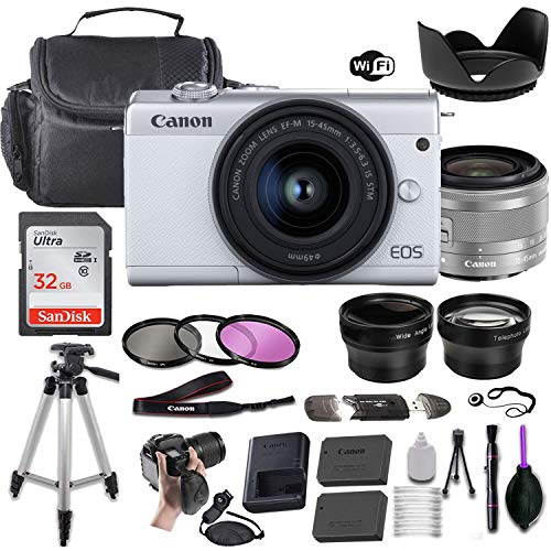 Canon EOS M200 Mirrorless Digital Camera (White) w/EF-M 15-45mm f/3.5-6.3 is STM + Wide-Angle and Telephoto Lenses + Portable Tripod + Memory Card + Deluxe Accessory Bundle