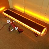 VSLED Black Aluminium Case 12V - 24V 53' 108 LED Emergency Warning LightBar Recovery Rescue Beacon LightBar Wrecker Flashing LightBar (Amber)