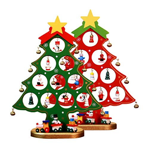 wellsn 2 pcs Wooden Tabletop Christmas Tree,Small Desk Tree with Miniature Ornaments Tabletop DIY Desk Mini Tree Chrismas Decorations for Kids, Medium
