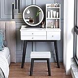 JTN Mesa de tocador de maquillaje con espejo impermeable con luces LED cajones de almacenamiento y mesa Set de tocador multifuncional, escritorio de niña gris/blanco_80 cm