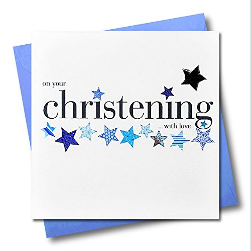 Claire Giles Hearts and Stars Christening Card - Blue