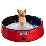 V-HANVER Foldable Dog Pool Hard Plastic Collapsible Pet Bath Tub for...