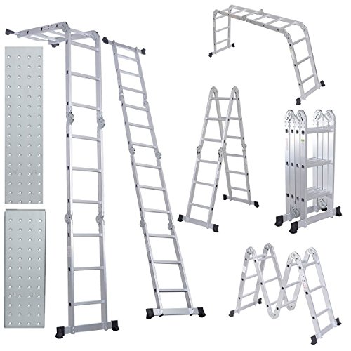Comie 330lb 12.5ft Multi Purpose Aluminum Folding Step Ladder Foldable Lightweight Scaffold Ladder W/2 Plate