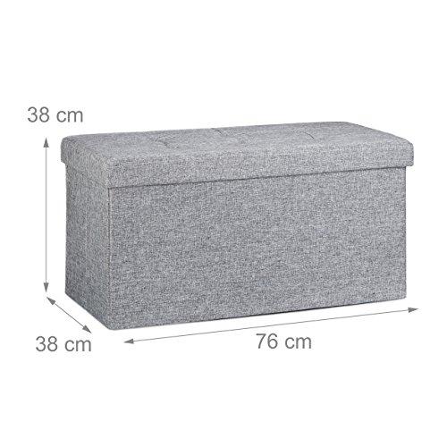 Relaxdays faltbare Sitzbank XL, Leinen, grau, 76x38x38cm - 4