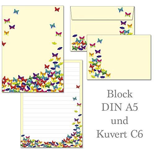 Schreibblock bunte Schmetterlinge 50 Blatt Format DIN A5 mit Deckblatt + 15 Stück Briefumschläge C6.