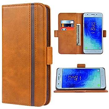 Phone Case for Samsung Galaxy J3 Orbit Star 2018 J 3 Achieve Wallet Leather Cases Folio Flip Cover Credit Card Holder Stand Cell Accessories Glaxay J3V V 3rd Gen SM J337A J337V J337 Women Girls Brown