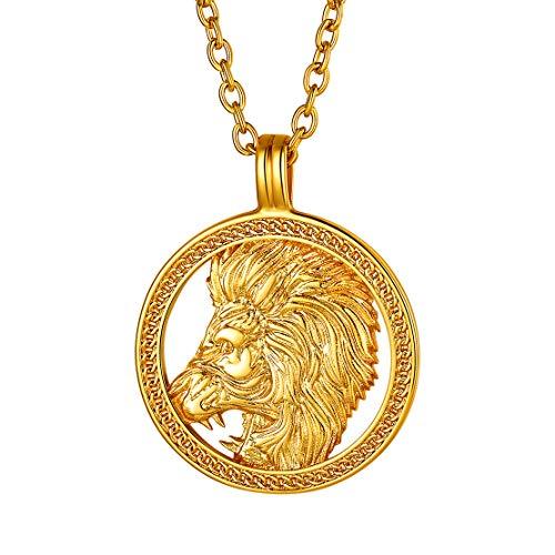 FindChic コイン ネックレス 18金 星座 ペンダントトップ レディース ゴールド 真鍮 獅子座 アクセサリー アンティーク風 大人 カジュアル プレゼント 彼女