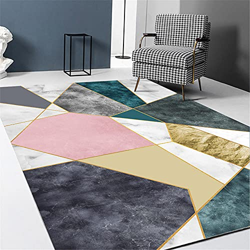 La alfombras Alfombra recibidor Alfombra geométrica Azul Gris Rosa Fácil de Limpiar...