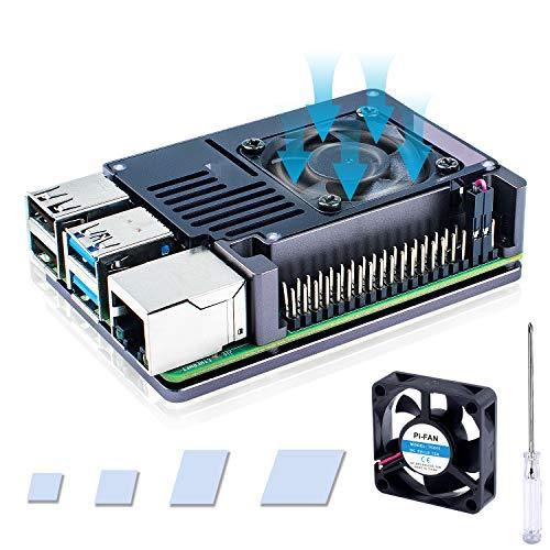 Raspberry Pi 4 ケース, 超薄型アルミニウム合金ケース+ヒートシンク+ 35x35x10 冷却大 ファン Raspberry Pi4 Model B 8gb /4gb / 2gb / 1gb (ラズベリーパイ4モデルB) 対応 (ラズパイ4本体含みません
