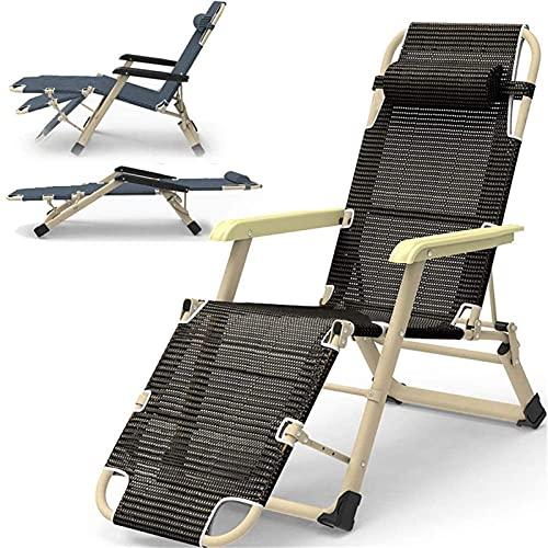 Tumbona de metal reclinable Sillas reclinables de jardín Tumbona plegable, 178 * 66 * 32 cm, 150 kg Max.Zero silla con tela sintética transpirable, reposapiés de ajuste de 3 posiciones (Color: Negro)