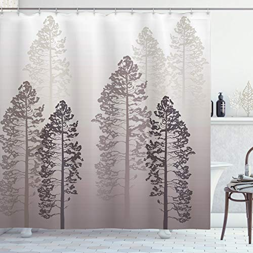 """Ambesonne Country Shower Curtain, Pine Trees in The Forest on Foggy Seem Ombre Backdrop Wildlife Adventure Artwork, Cloth Fabric Bathroom Decor Set with Hooks, 84"""" Long Extra, Warm Taupe"""