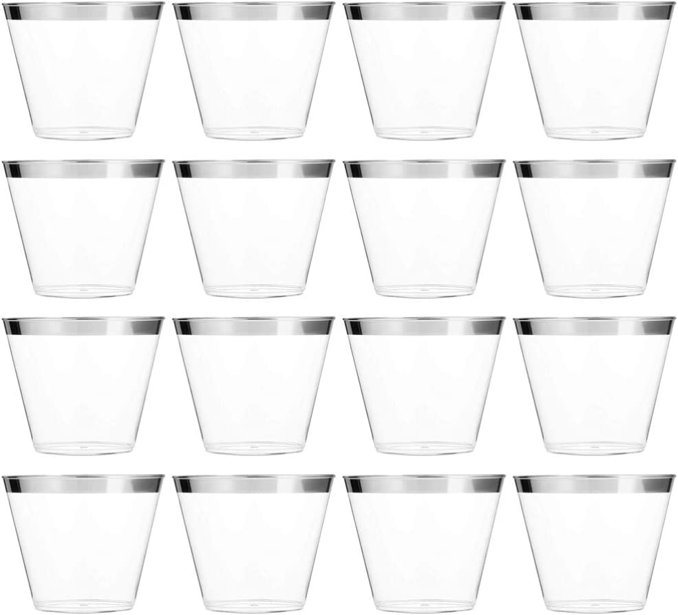 Milisten Silver Plastic 25% OFF Cups Max 74% OFF Disposable Party Tumblers for