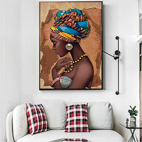 Canvas Painting Modular Poster African Black Woman Pictures Wall Artwork Hd Printed Nordic Style for Living Room Home Decor Paintings 50 * 70cm