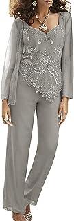 Vincent Bridal - Vestido de Gasa para Mujer, 3 Piezas, con abalorio, para Madre de la Novia, Traje Formal para Vestidos de Novio de Boda