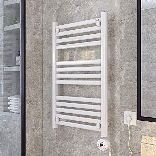 HUAHUA Towel Heater Rail Toalla calentador eléctrico, montado en la pared calentada de acero inoxidable de toallas de baño con temporizador, tubo redondo y enchufe Opciones 31.49 * 19.68 pulgadas Cuar