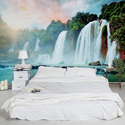 Apalis Vliestapete Wasserfallpanorama Fototapete Breit | Vlies Tapete Wandtapete Wandbild Foto 3D Fototapete für Schlafzimmer Wohnzimmer Küche | türkis, 94853