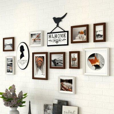 Massief houten foto De woonkamer in een creatieve combinatie van driedimensionale fotolijsten acryl wand sticker foto muur decoreertDasswitte chocolade + zwarte en witte landschappen cel