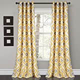 Lush Decor Room Darkening Window Curtain Panel Set, 0, Yellow/Gray, 2 Count