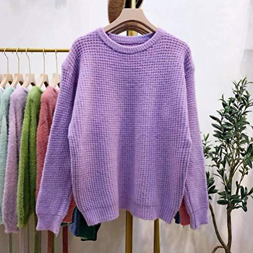 Dames pullover en trui Koreaanse stijl rode pullover vrouwelijke casual stijl, JUSTTIME Eén maat lila