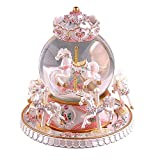 Autker Rotate Music Box, Carousel Crystal Ball Colorful LED Lights Snowflake Glass Ball with Castle in The Sky Tune Best Birthday/Christmas for Kids, Girls, Women (Pearl White)