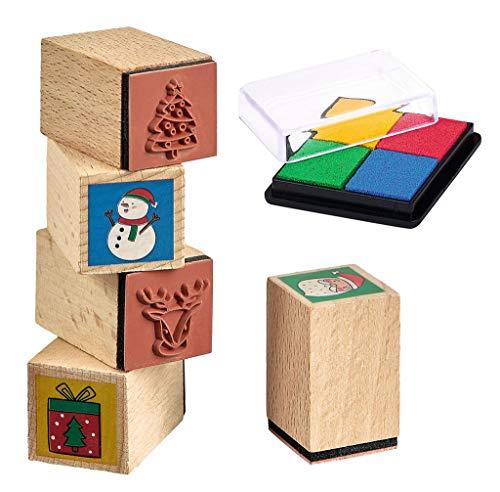moses. Stempelset Weihnachtsfreunde | Ideen für den Adventskalender | 8 Weihnachtsstempel inkl. Stempelkissen aus Holz | Für Kinder