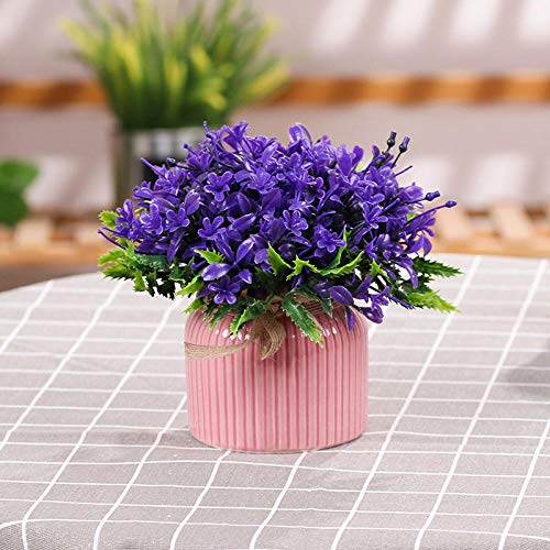 chuanglanja Flor Artificial Exterior Decoración De La Mesa De La Sala Pequeño Juego De Interior En Maceta Flor Falsa Púrpura