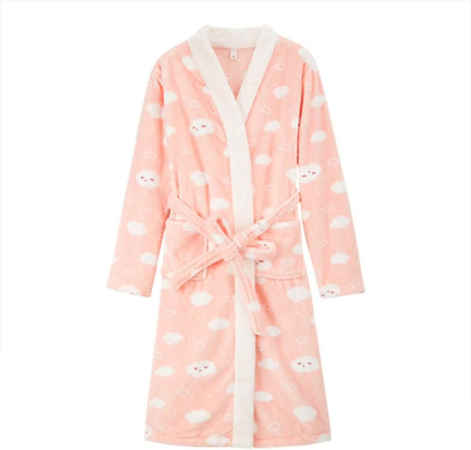 NAN Liang Women's Autumn and Winter Pajamas, Long Night Gowns, Thick and Simple Home Clothes to Keep Warm and Comfortable Soft (Size   M)