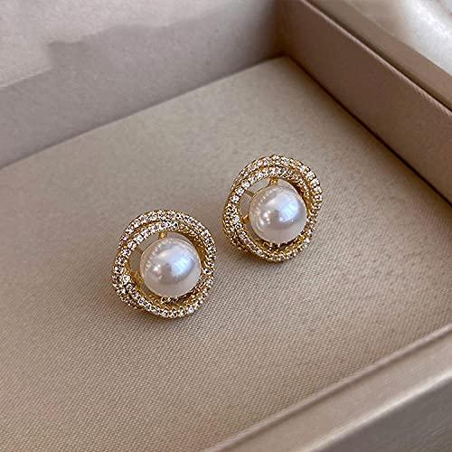 XCWXM Unusual geometric shape swirl pearl earrings ladies exquisite fashion jewelry party accessories earrings-Golden