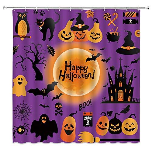 Happy Halloween Duschvorhang Lila Schwarz Horror Kürbis Geist Katze Fledermaus Dead Tree Castle Orange Vollmond Cartoon Home Badezimmer Dekor Stoff Vorhang mit 12 Haken, 178 x cm,