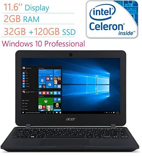 Acer Premium 11.6' HD LED Backlight (1366x768) Display Laptop PC, Intel Dual Core Celeron N3050, 2GB RAM, 32GB eMMc Drive +120GB SSD, Bluetooth, WiFi, HDMI, USB 3.0, Windows 10 Professional (Renewed)