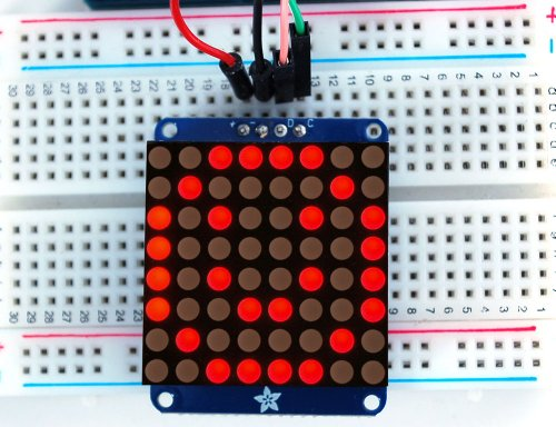 Adafruit Mini 1.2 8x8 LED Matrix w/I2C Backpack - Rot