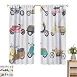 Mozenou Doodle, Window Curtain Fabric, A Variety of Scooters in Cute and Pleasant Design Bike Riding Wheels Transportation, Drapes for Living Room Multicolor
