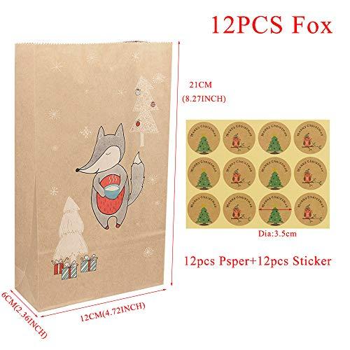 Amnixo Kerstmis Kraft Papieren Tassen met Seal Stickers Gift Elk Vossen Sneeuwvlok Kerstmis Snoep Voedsel Pakket Verpakking Tassen