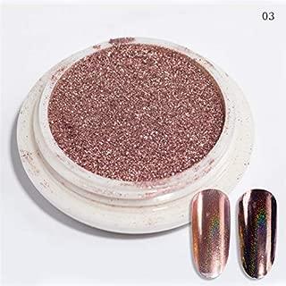 0.5g/Box Rose Gold Mirror Nail Glitter UV Gel Polish Chrome Dust Pigment Manicure Nail Art Powder Decoration (0.2g Holo Champagne)
