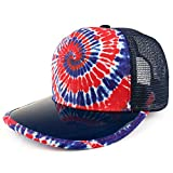 Trendy Apparel Shop Tie Dye Printed Mesh Snapback Hat with Transparent PVC Flat Bill - RED Royal