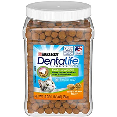 Purina DentaLife Made in USA Facilities Cat Dental Treats, Tasty Chicken Flavor - 19 oz. Canister