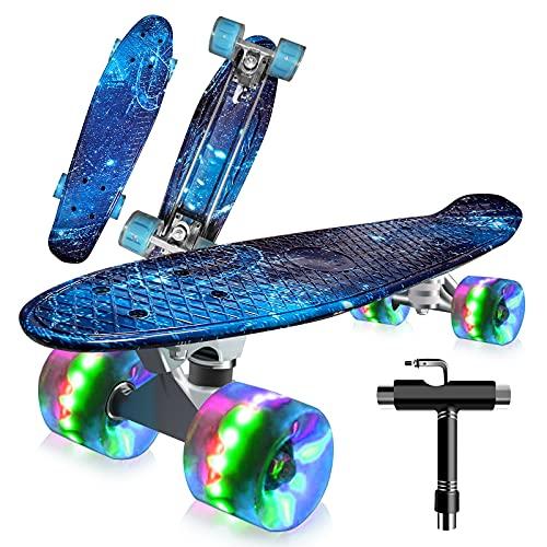 Saramond Skateboard komplett 55 cm Mini-Cruiser Retro-Skateboard für Kinder Jungen Mädchen Jugendliche Erwachsene Anfänger, LED-Blitzräder mit All-in-One Skate T-Tool (Blaues Meer)