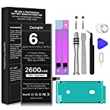 [2600mAh] Battery for iPhone 6 (Not 6S or 6 Plus), Upgrade 0 Cycle High Capacity Durable Replacement Battery for iPhone 6 Model A1586,A1589,A1549 with Full Set Repair Tool Kit, Adhesive & Instructions