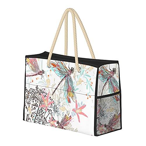 FJJLOVE Bolso de playa grande Libélulas Flores silvestres y malezas Bolso de hombro para mujer - Bolso de mano con asas