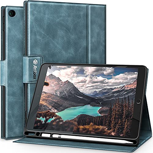 Antbox Case for iPad 10.2 (2020/2019) with Built-in Apple Pencil Holder Auto Sleep/Wake Function PU Leather Smart Cover for iPad 8th Generation 2020/iPad 7th Generation 2019(Blue)