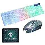 Halloween Skull Phantom Style Keyboard and Mouse Set, T6 Rainbow Backlit USB Ergonomic Gaming Keyboard + 2400DPI 6 Buttons LED Gaming Mouse + Mouse Pad Kit, 104 Buttons, for PC Laptop (White)