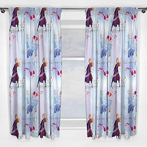 Die Eiskönigin Vorhänge Disney Anna & ELSA Design | Perfekt für jedes Kinderzimmer (183 cm), weiß, 2 Stück