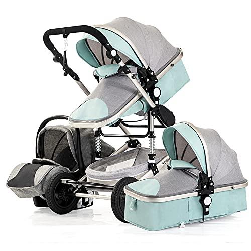 Cochecito de bebé 3 en 1,Cochecito de bebé ajustable con sombrilla, Cochecito de bebé reclinado reversible con vista alta, Cochecito de bebé plegable de viaje con cesta grande(Color:Menta verde)