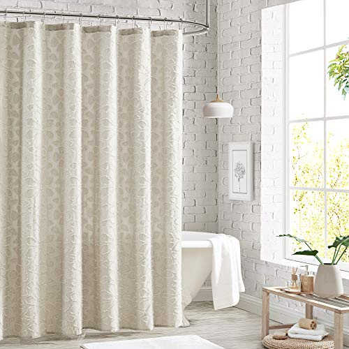Peri Home 100% Cotton Fabric Shower Curtain for Bathroom, 72 x 72 inches, Natural Clipped Floral