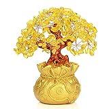 Feng Shui Gelber Kristall Geldbaum in Geldbeutel Bonsai-Stil Dekoration für