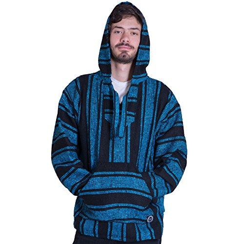Orizaba Original Baja Hoodie Drug Rug - Light Blue Black Classic - Shasta S