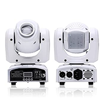 U`King DJ Lights Moving Head RGBW 4 Color Stage Lighting LED Spotlight by DMX and Sound Activated Control for Wedding Disco Parties Church Live Show  1 Pack