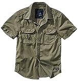 Brandit - Camisa retro de manga larga y manga corta, varios colores, tallas S a 7XL Olive, Manches Courtes XXXXXXXL