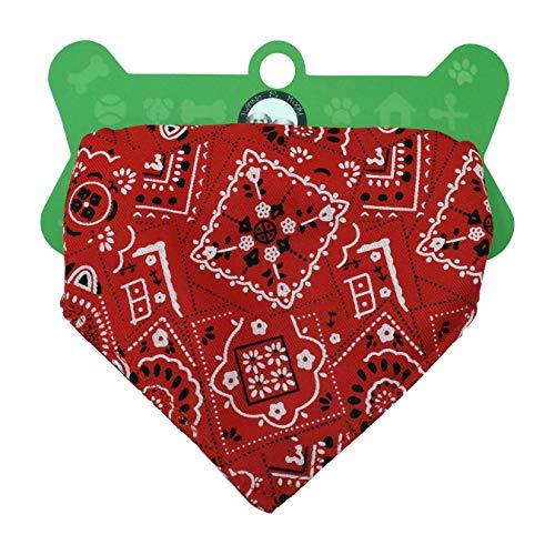 Twinkle & Mogly - Bandanas für Hunde mit Klickverschluss und Leinenbefestigung in Rot, Schwarz und Blau - Rot L